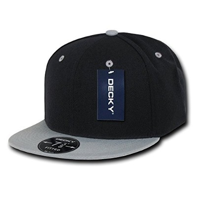 Decky RP1-PL-BLG-28 Retro Fitted Caps Black & Grey - 7.63
