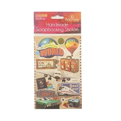 Passtime Crafts 3d旅行ステッカーwith Glitterアクセント–Pack of 2シート7744