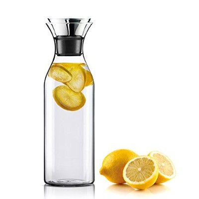 Worldex 50 Oz Glass Carafe with Stainless Steel Silicone Flip-top Lid, Drip-free Borosilicate Glass...