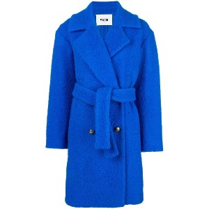 MSGM belted double-breasted bouclé coat - ブルー