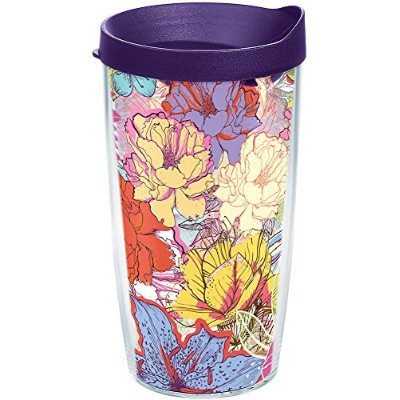 Tervis 1209598スケッチ花ラップTumbler withロイヤルパープル蓋、16オンス、クリア