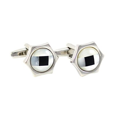 mendepot Classic Hexagon母のパールとオニキスCufflink withギフトボックス