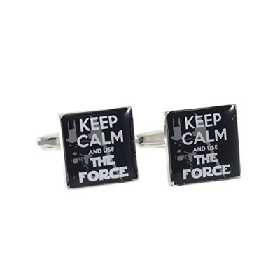 mendepot Square Darth Vader背景Keep Calm and Use the Force Cuff Links withギフトボックス