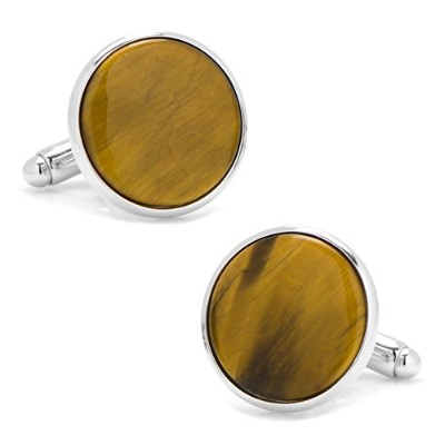 Ox and Bull Trading Co。シルバーand Tiger 's Eye Cufflinks