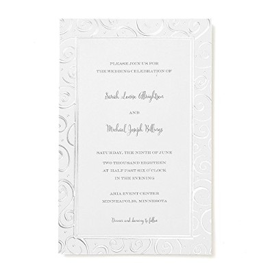 Gartner Studios 2-Up Invitations, 5 1/2 x 8 1/2, Silver Swirl by Gartner