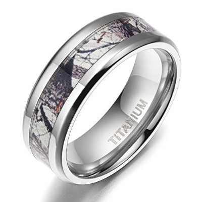 8mmチタン結婚指輪バンドwith Gray Camouflage Inlayで快適フィットサイズ5–10
