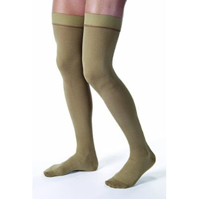 Men's 30-40 mmHg Closed Toe Thigh High Support Sock Size: Large, Color: Khaki by Jobst