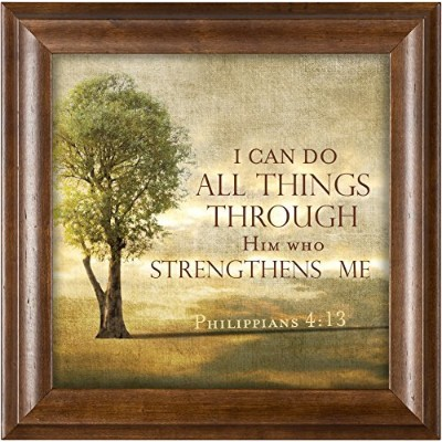 Him Who Strengthens Me Tree On A Hill Phil。4 : 13 Wood Finish 12 x 12 FRAMED Art Wall Plaque