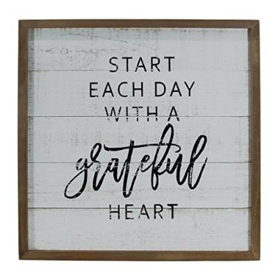 """Weathered White Wood Framed Distressed Wall Sign""""Start Each Day With A Grateful Heart"""""""