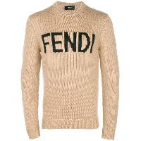 Fendi logo crew neck sweater - ヌード&ナチュラル