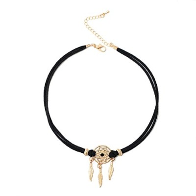 (Ancient Gold Plated) - Injoy Jewellery Women Faux Suede Cord Leather Choker Dreamcatcher Choker...
