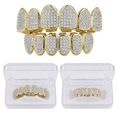 JINAO ヒップホップ 18K Micro pave キュービックジルコニア トップ&ボトム 歯グリルズセット Hip Hop 18K Micro Pave CZ Top and Bottom...