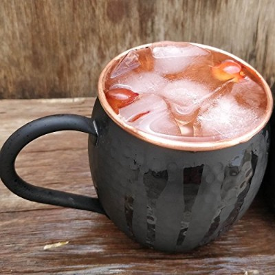 staglife Moscow Mule 100 % Solid Pure Copper裏地なしMug/Cup With銅ハンドル(473ml/ギフトセットの4、Hammered)...