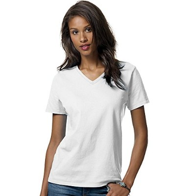 Hanes 5780 Relaxed Fit Women Comfortsoft V-Neck T-Shirt 3XL White