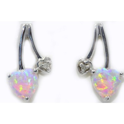 Simulated Pink Opal & Diamond Heart Stud Earrings .925 Sterling Silver Rhodium Finish