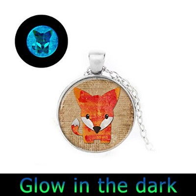 glowlala ® Glowing Foxペンダント、グローin theダーク、かわいいフォックスGlowing Fox Glowingネックレス、ジュエリー