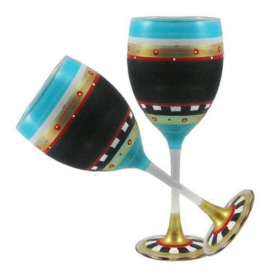 Golden Hill Studio Wine Glassesハンドペイントin the USA by American artists-setの2-mosaicチョークコレクション