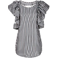 See By Chloé ruffle-sleeve striped blouse - ブルー