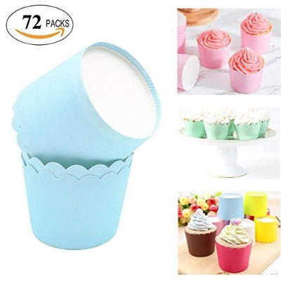 (72, Sky Blue) - Lesirit Solid colour Paper Baking Cups, Standard Size Cupcake for baking (72, Sky...