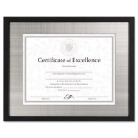 DAX N15788ST Contemporary Wood Document/Certificate Frame, Silver Metal Mat, 11 x 14 Inches, Black...