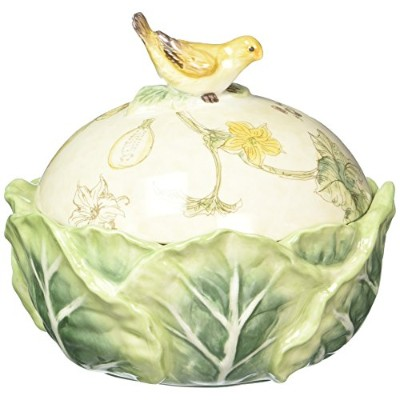 Fitz and Floyd 21–007FATTORIA Covered Dish with Birdノブ、グリーン/イエロー