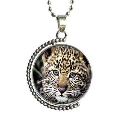 GiftJewelryShop animal tigerガラスCabochon回転可能ラッキーペンダントネックレス