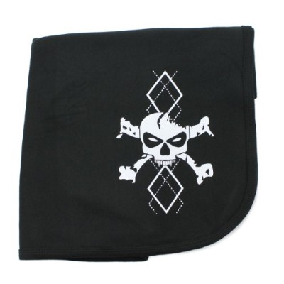 CrazyBabyClothing White Argyle Skull & Crossbones Baby Receiving Swaddle Blanket by Crazy Baby...