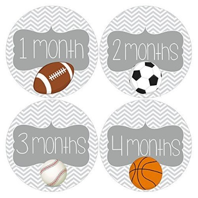 Gift Set of 12 Round Keepsake Photography Monthly Baby Stickers with Sports Balls MOSB145 by Heads...