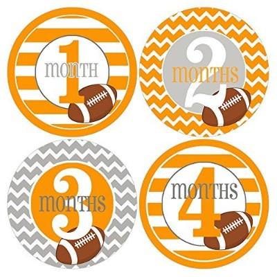 Gift Set of 12 Round Keepsake Photography Monthly Baby Stickers with Tennessee Orange and Gray...