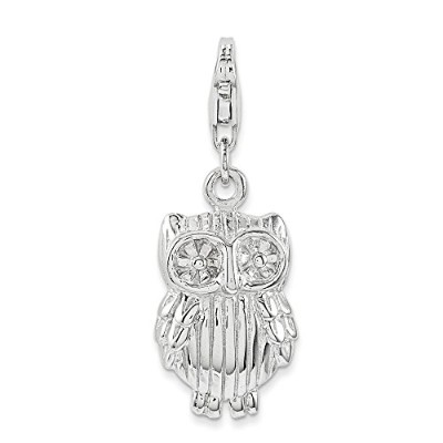 Beautiful Sterling silver 925 sterling Sterling Silver Owl Charm comes with a Free Jewelry Gift