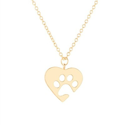 jenny-baby Womens Girls Heart And Dog Pawネックレスfor Dog Person ゴールド