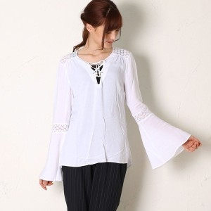 【SALE 60%OFF】ゲス GUESS L/S RENE TIE FRONT TUNIC (TRUE WHITE)