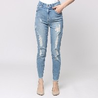 ゲス GUESS SUPER HIGH RISE SKINNY DENIM PANT (SUPER BLEACHED WASH W/ DESTROY)