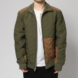 【SALE 50%OFF】ゲス GUESS HALEN QUILTED BLOCKED JACKET (WINTER MOSS MULTI)