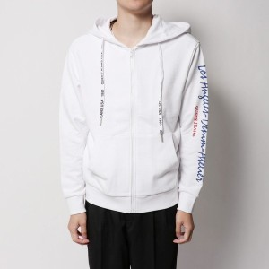 【SALE 30%OFF】ゲス GUESS LOS ANGELES SLEEVE LOGO FULL ZIP PARKA (WHITE)