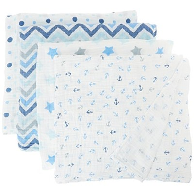 Blisscosy Silky Soft Classic Large Muslin Swaddle Blanket, 4 count 47 inch x 47 inch, Gift Box Set ...