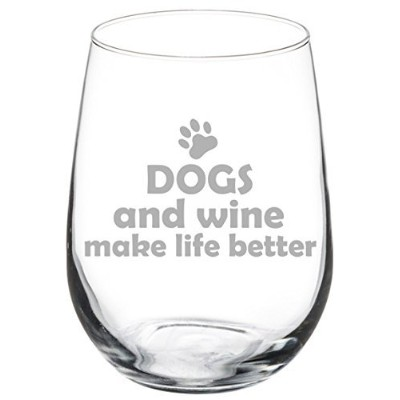 500ml Stemless Wine Glass Funny Dogs and Wine Make Life Better
