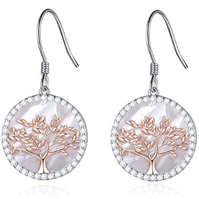 MEGACHIC Women Tree of Life Women's Sterling Silver Mother of Pearl Earrings Crystals from Swarovski
