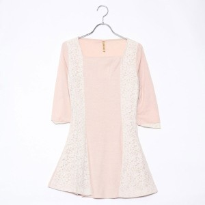 【SALE 70%OFF】ルーミィーズ  Roomy's OUTLET カット×レース配色OP (ベージュ)