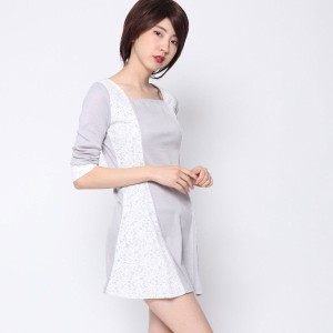 【SALE 72%OFF】ルーミィーズ  Roomy's OUTLET カット×レース配色OP (グレー)