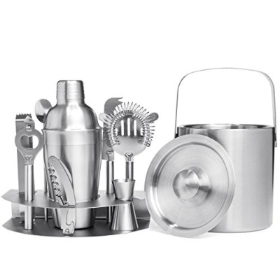 Best Choice Products 10-Piece Stainless Steel Bartender Mixology Set w/Ice Bucket, Cocktail Shaker,...