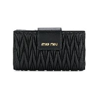 Miu Miu chevron pleated logo wallet - ブラック
