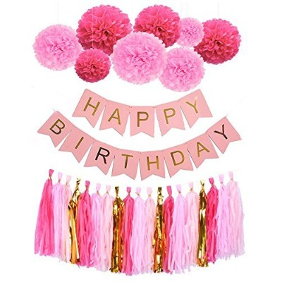 MonkeyホームHappy誕生日バナーLovely用紙花Paper Pom Poms with Tassels Garlands for 1st 18th 21th 41th 51th誕生日パーティ...