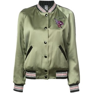 Coach reversible satin varsity jacket - グリーン