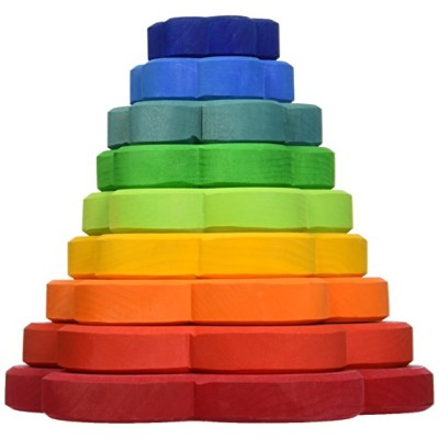 Grimm's Large Flower Tower - Wooden Rainbow Stacking Conical Tower with 8 Decorative Pieces