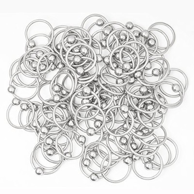 100pk. 16ga-7/16(11 mm) Captive Bead Rings - Perfect for Rook, Tragus, Lobe, Nose and Lip Piercings...