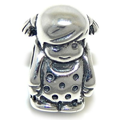 Proジュエリー925Solid Sterling Silver Little Girl Wearing A Polka Dotドレスチャームビーズ