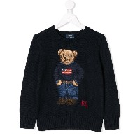 Ralph Lauren Kids bear knitted sweater - ブルー