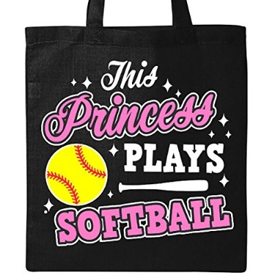 InktasticこのプリンセスPlays Softball with Bat and Sparkles withホワイトトートバッグ One Size ブラック