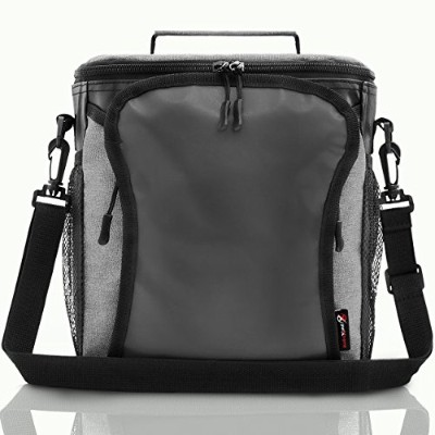 pwrxtreme Insulated Lunchバッグwith Best 2Wayジッパークロージャdouble-sewnナイロンLargeメッシュサイドポケットと50-inch取り外し可能ショル...